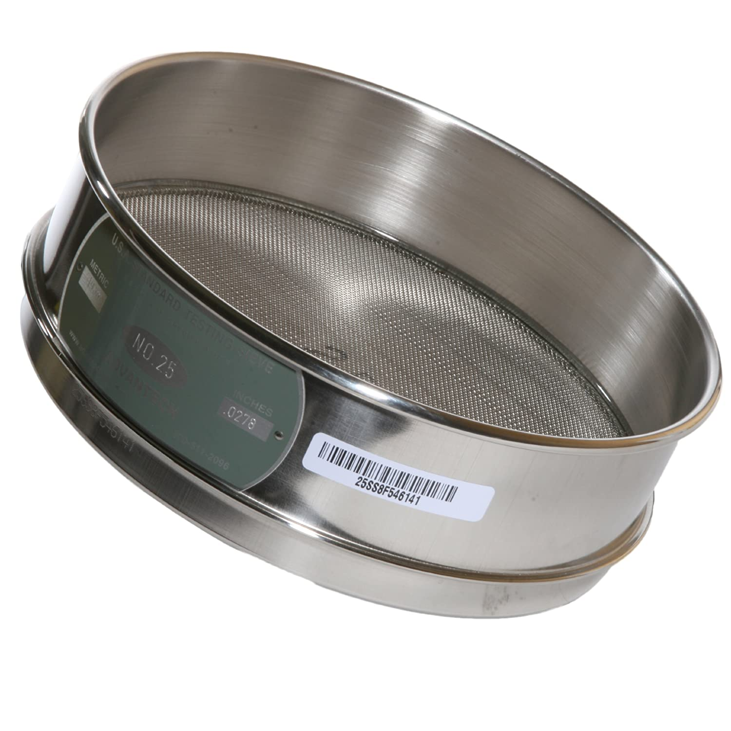 Advantech Stainless Steel Test Sieves, 8' Diameter, #25 Mesh, Full Height 8 Diameter 25SS8F