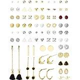 Juego de 41 pares de aretes de tuerca múltiples para mujer, simples, lindos y pequeños, con forma de bola y perlas de imitaci