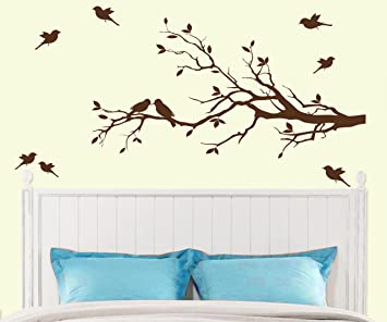 Amazoncom MATTE FINISH Tree Branch With  Birds Wall Decals - Wall decals birds