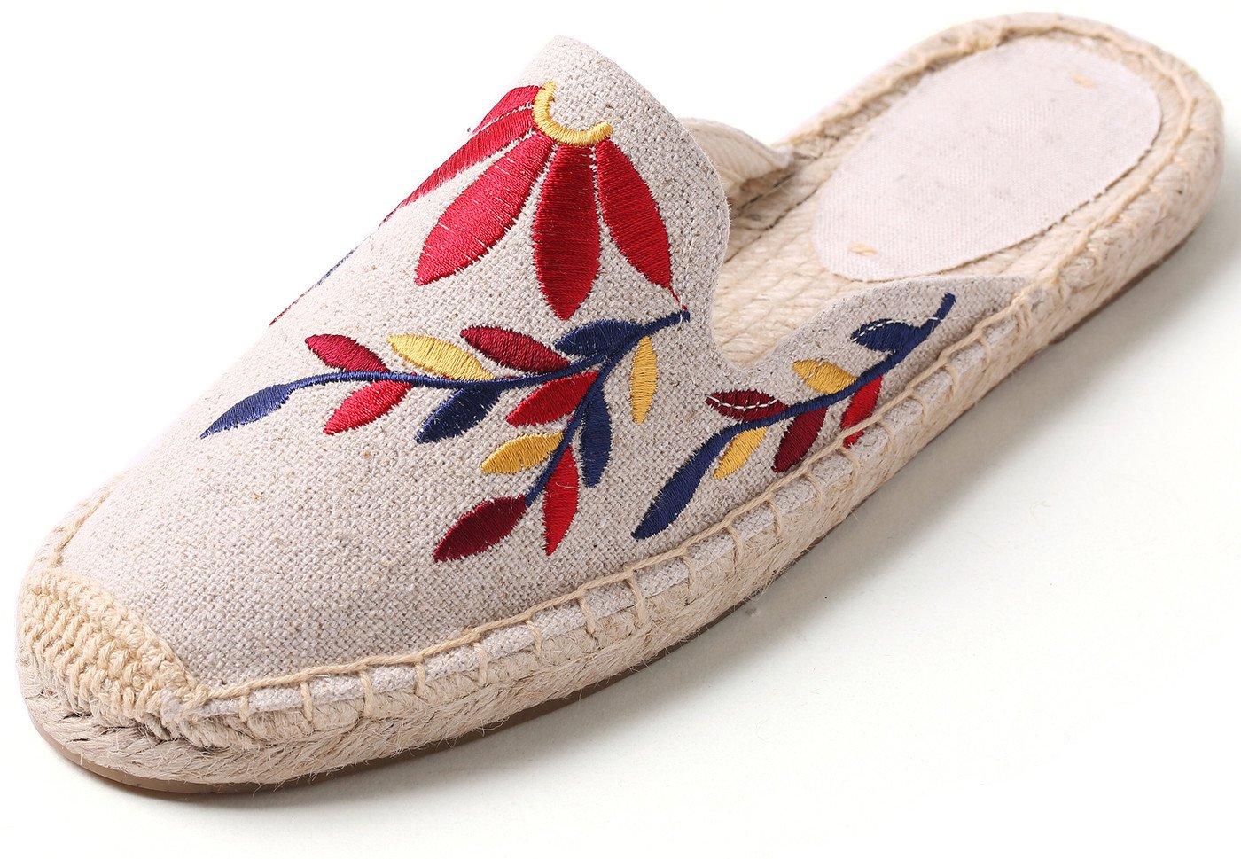 U-lite Women's Stylish Embroidery Leaf Flat Espadrilles Beige Colorful Leaf10