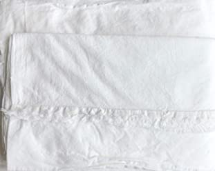 Piubelle Premiere Organic Collection Solid White 4pc 100% Cotton King Sheet Set Textured Fringed Hems