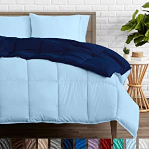 Bare Home Reversible Comforter - Full/Queen - Goose Down Alternative - Ultra-Soft - Premium 1800 Series - Hypoallergenic - All Season Breathable Warmth (Full/Queen, Dark Blue/Light Blue)