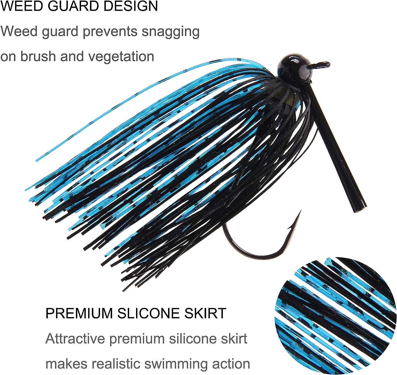 JSHANMEI Bass Fishing Jigs Weedless Swim Jigs Flipping Jigs Silicone Skirts Fishing Jigs Head Lures Kit