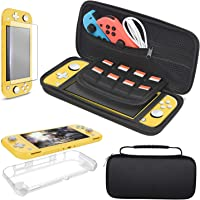 Carrying Case Plus Protective Case Cover and Screen Protector for Nintendo Switch Lite, Portable Netting Carrier Travel Bag Case with 8 Game Card Slots For Nintendo Switch Lite & Accessories