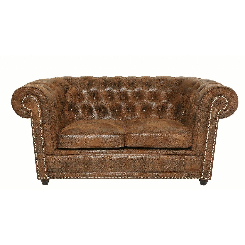 Sofa Oxford 2-Sitzer Vintage Rivet Mikrofaser B160xT92xH76 by Kare Design
