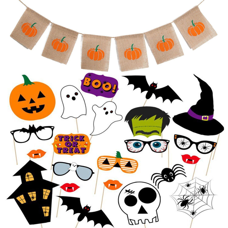 Scafiv Halloween Harvest Pumpkin Burlap Banner for Halloween Decoration with 22 Pieces Assorted Halloween Photo Booth Props Halloween Party Supplies