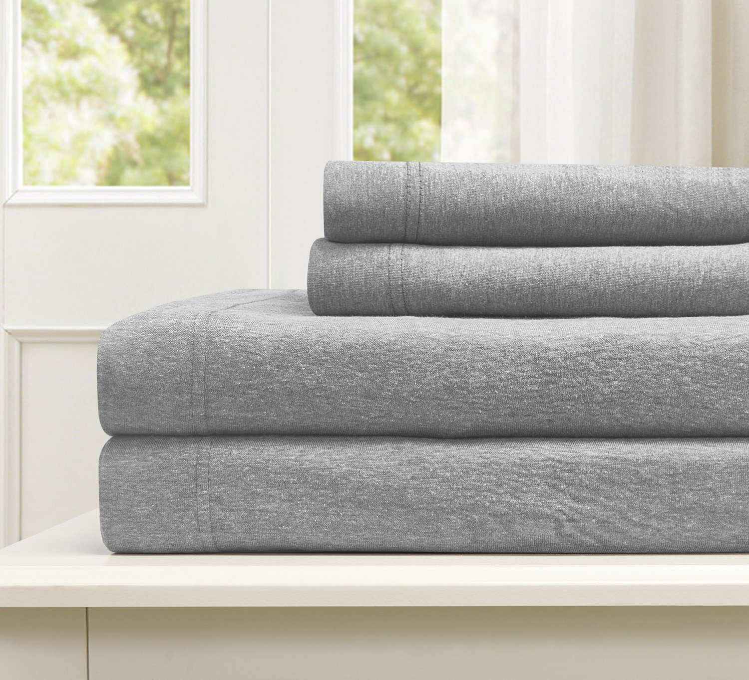 (Queen, Heather Grey) Cotton Rich T-Shirt Soft Heather Jersey Knit Sheet set All Season Bed Sheets, Super Comfortable, Warm and Cosy By Morgan Home Fashions (Queen, Heather Grey) B075NPDW6T クイーン ヘザーグレー ヘザーグレー クイーン