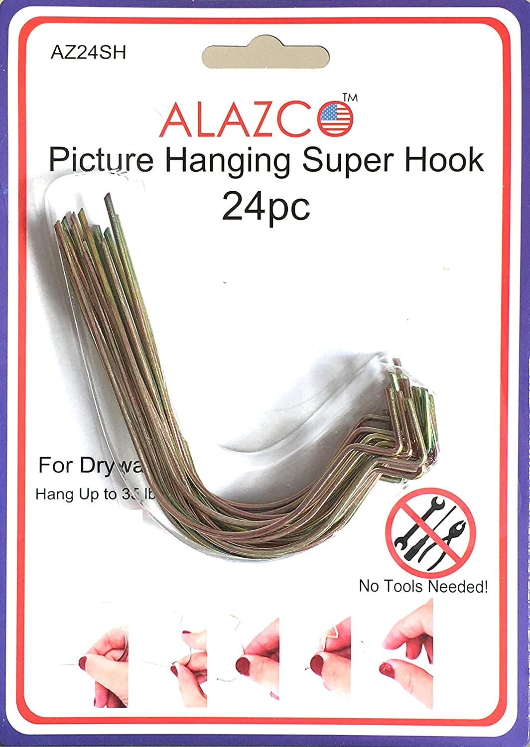 Hooks Without Nails Part - 22: 24pc Set ALAZCO Super Hooks - Hang Pictures Without ANY TOOL, Hammer, Nails  Or Drilling! Excellent Quality! - - Amazon.com