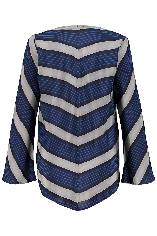 Ulla Popken Womens Plus Size Chevron Stripe V-Neck Blouse 720407