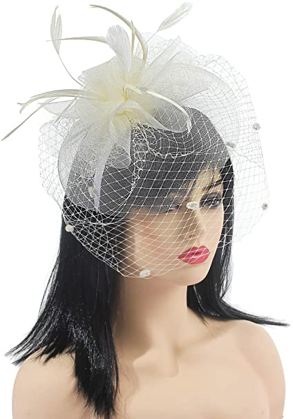 209bf9dfc3a7f Wedding White Fascinators with Veil Tea Party Headband Kentucky Derby  Headwear Cocktail Flower Mesh Feathers Hat