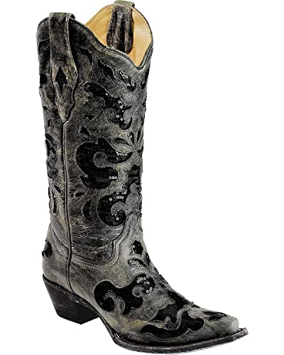 Women's Crater Sequins Inlay Cowgirl Boot Snip Toe - A1065