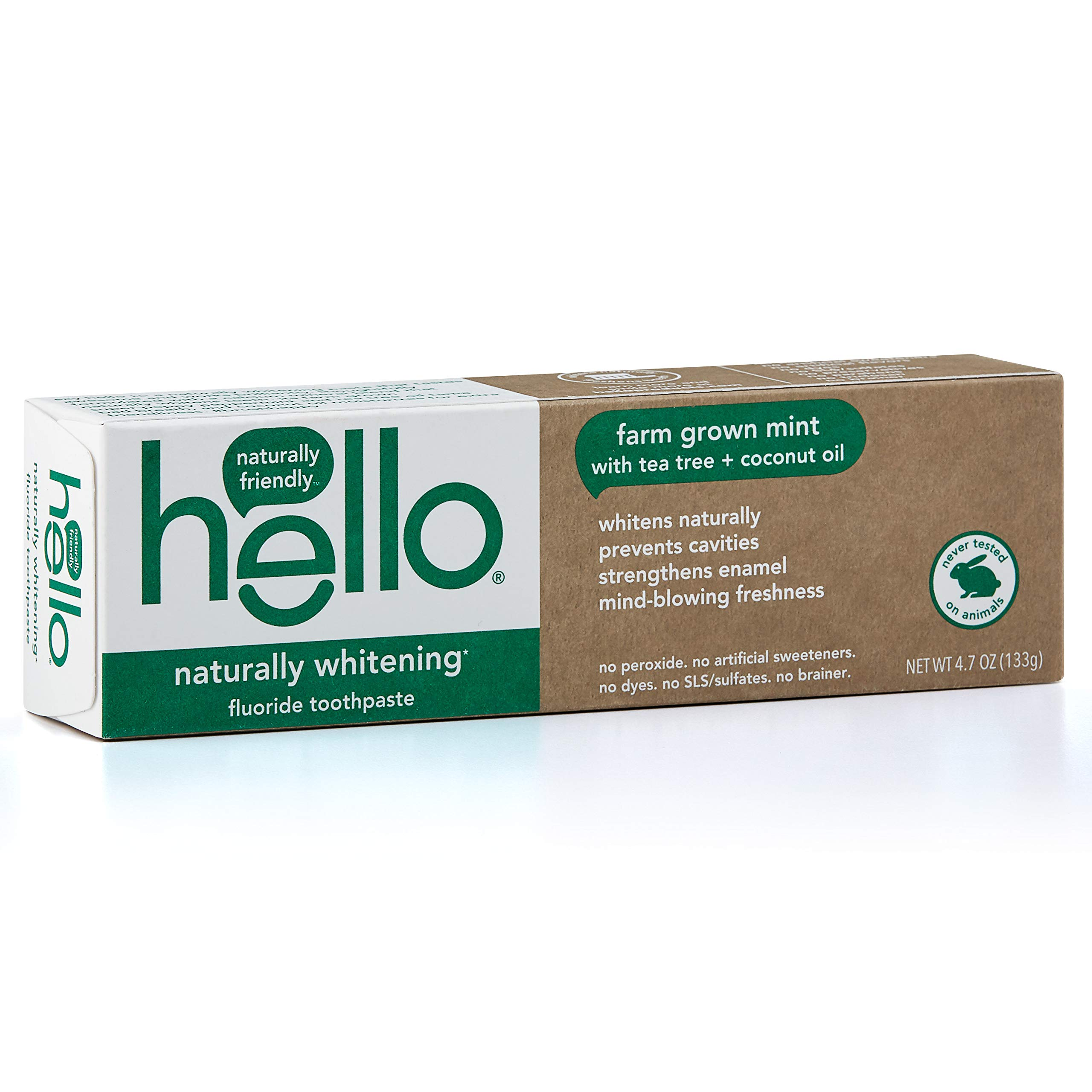 Hello Oral Care Naturally Whitening Fluoride Toothpaste, Vegan & SLS Free, Farm Grown Mint with Tea Tree Oil & Coconut Oil, 4.7 Ounce