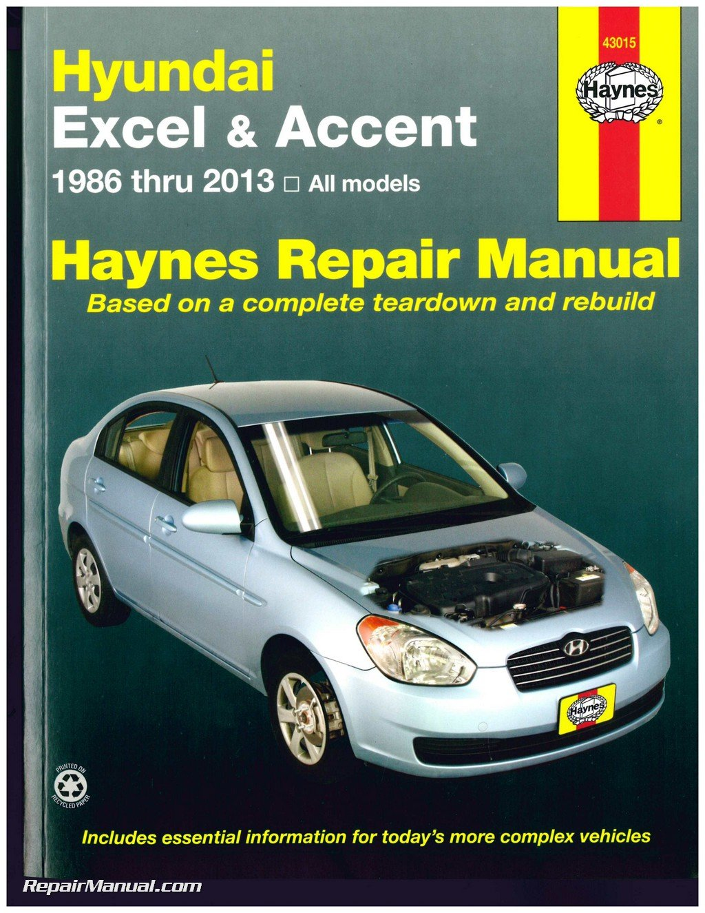 H43015 Hyundai Excel Accent 1986 2013 Haynes Auto Repair Service Schematic Manual Manufacturer Books