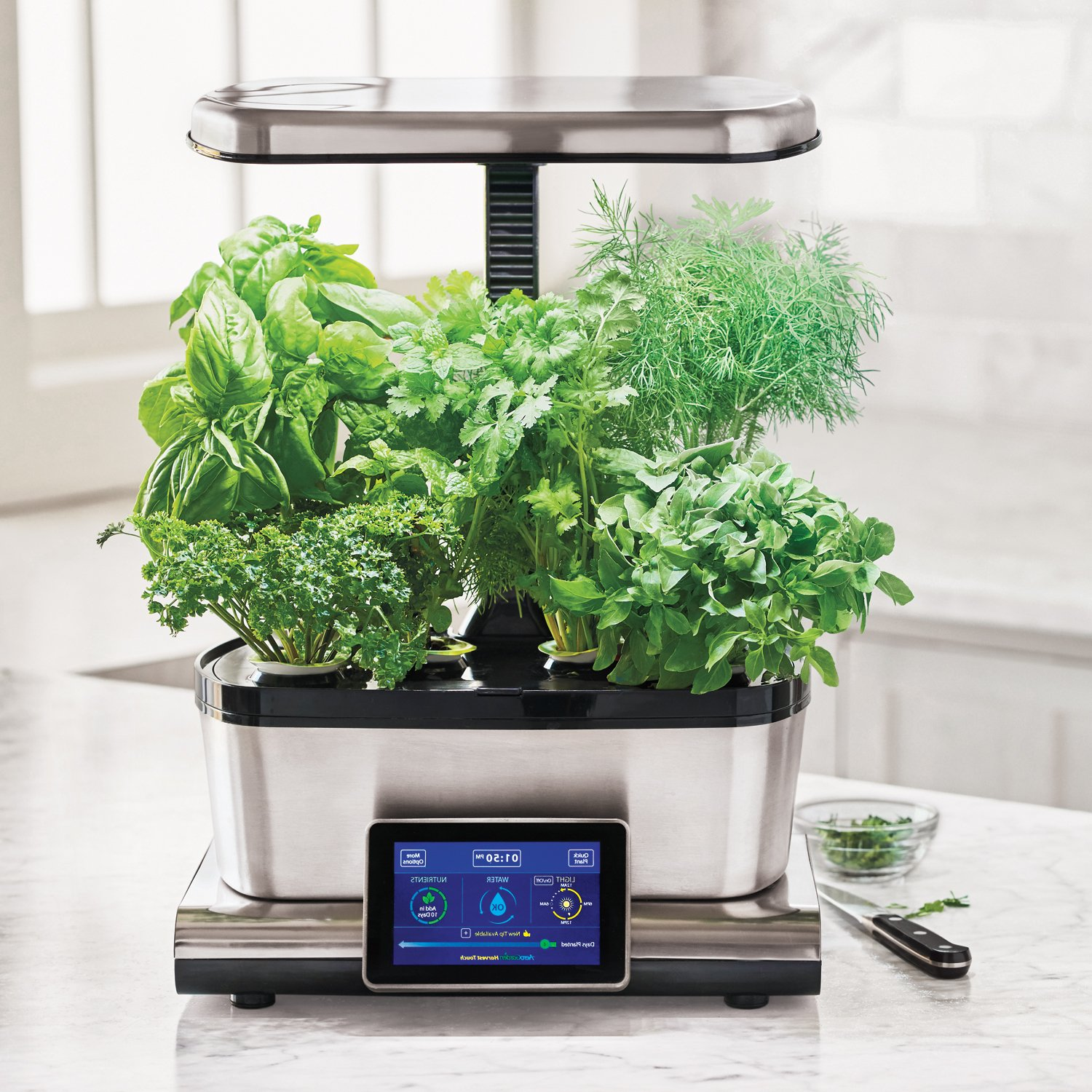 AeroGarden Harvest Touch with Gourmet Herb Seed Pod Kit, Stainless Steel by AeroGrow (Image #1)