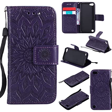 quality design ee95a a3430 NOMO iPod Touch 5 Case,iPod Touch 6 Wallet Case,iPod Touch 5 Flip Case PU  Leather Emboss Mandala Sun Flower Folio Magnetic Kickstand Cover with Card  ...