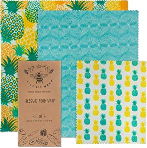 Lily BEE WRAP Beeswax Wrap Reusable Food Wraps | Organic Cotton Eco Friendly Zero Waste Bees Wax Food Storage Wrappers | Biodegradable & Plastic Free Clingwrap Alternative | Pineapple Sorbet 3-Pack
