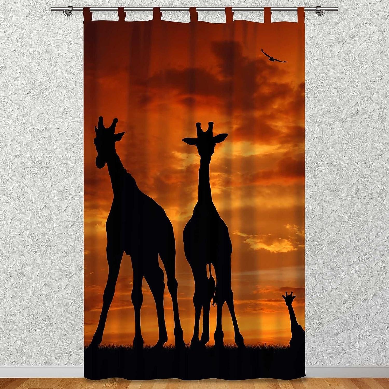 Clever-Kauf-24 Vorhang Gardine für Das Kinderzimmer Afrika Giraffen im Abendrot BxH 145 x 245 cm   Sichtschutz   Lichtdurchlässig   Schlaufenschal für lierliebende Romantiker