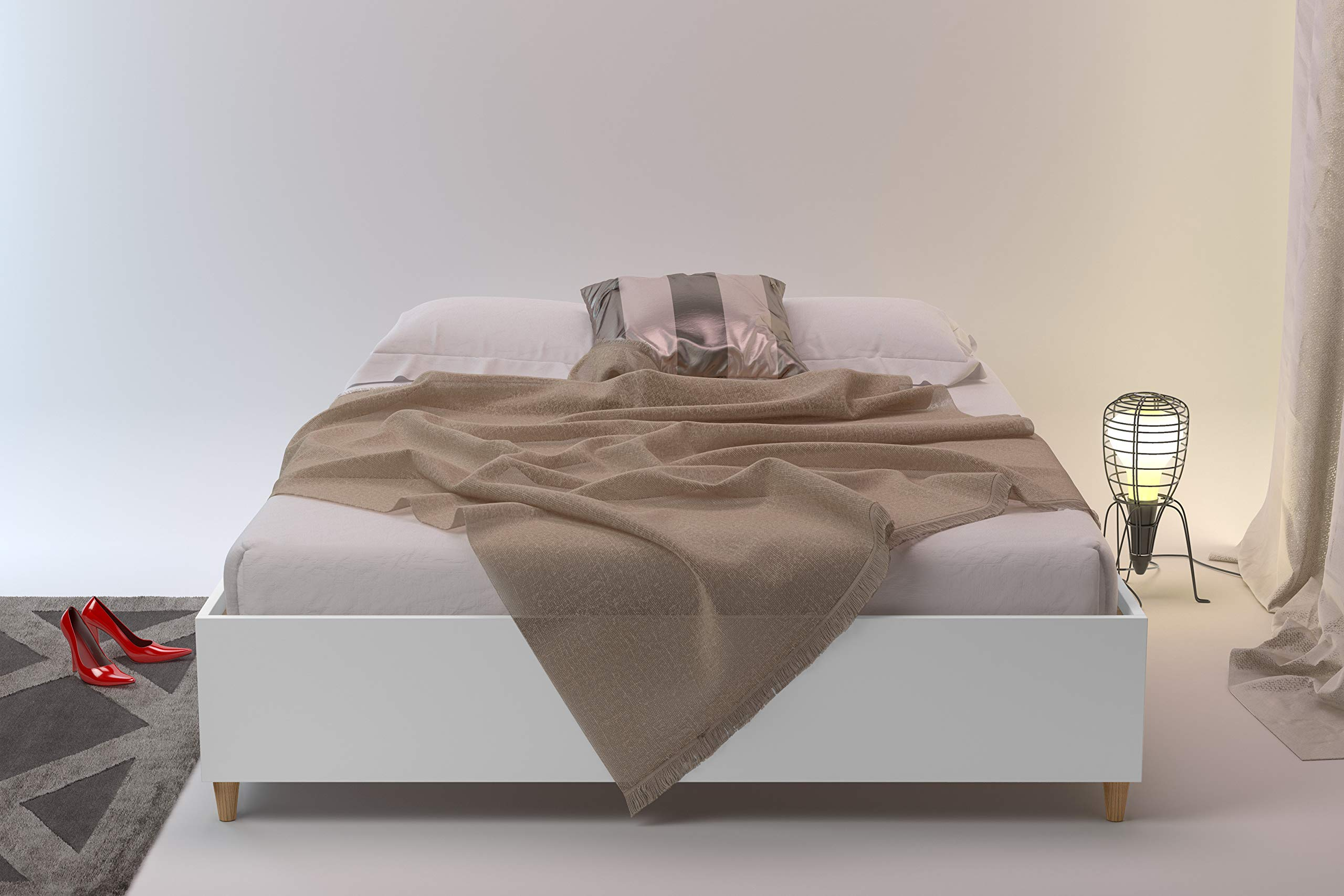 Midtown Concept Queen Platform   Wood Slat Support  White with Walnut Details Bed, by Midtown Concept