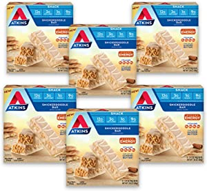 Atkins Snickerdoodle Snack Bar. with B Vitamins and Real Almond Butter. Naturally Flavored. Keto Friendly and Gluten Free. (30 Bars)
