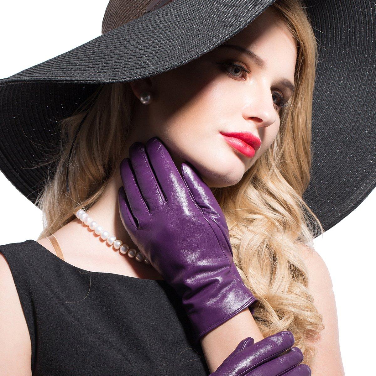 Kursheuel 14 colors Cashmere Women Lady's Genuine lambskin soft leather driving Gloves KU141 (L, Purple) by Kursheuel (Image #4)