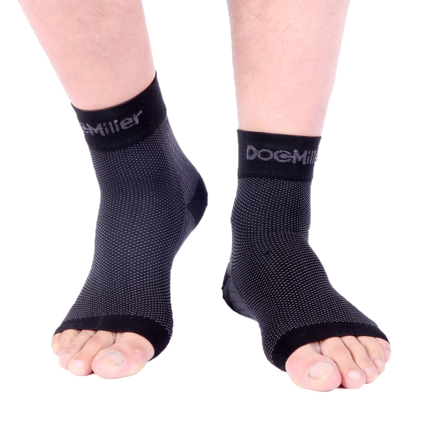 Doc Miller Medical Grade Plantar Fasciitis Ankle Brace Compression Anklet Socks for Foot Joint Pain Heel Spurs Achilles Tendonitis Arch Support Eases Pain Swelling 1 PAIR (Black, Large)