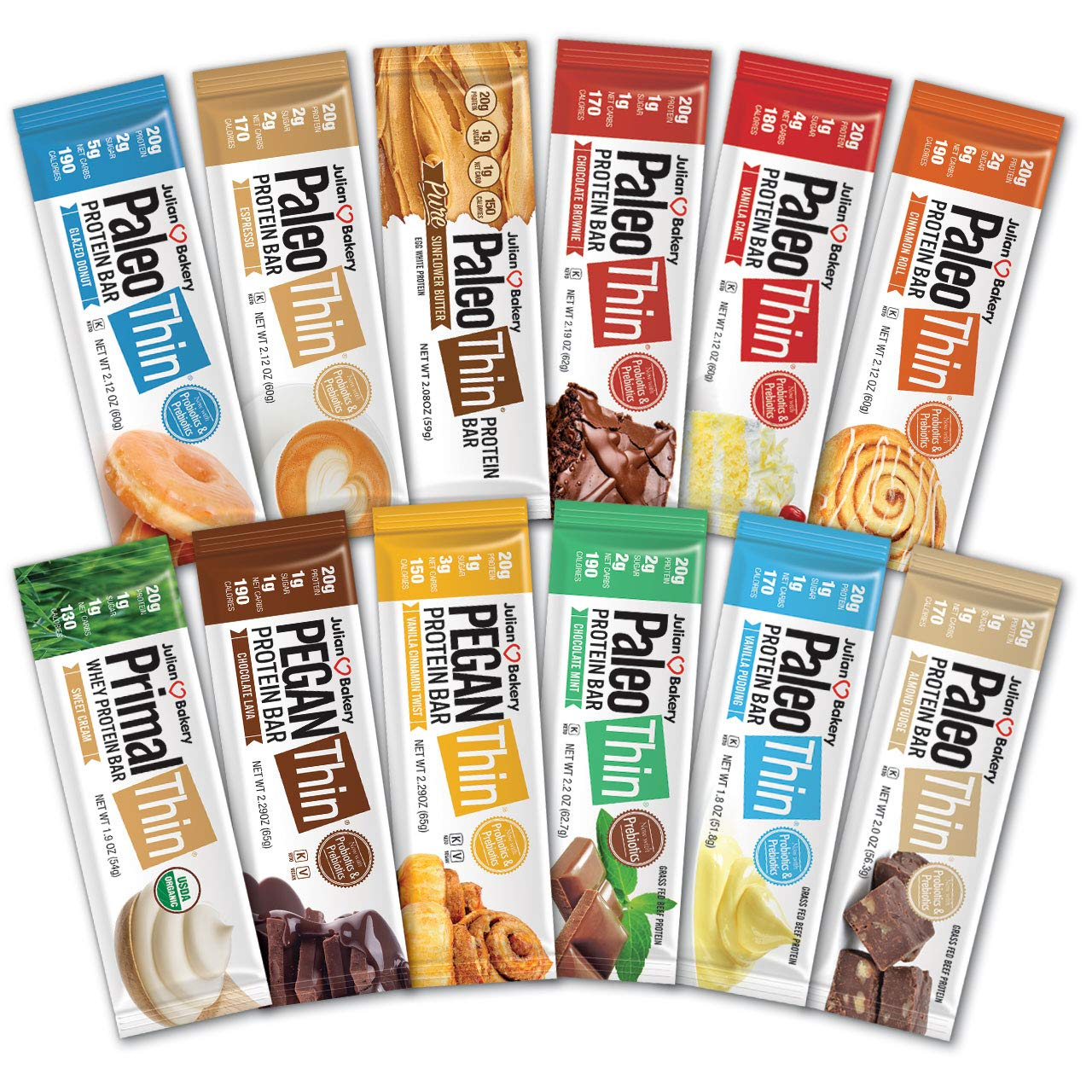 Paleo Thin® Protein Bars (New Variety Box) (20g Protein)(Gluten-Free)(Low Carb)(12 Bars) by Julian Bakery