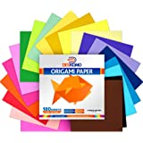 Deskomo Origami Paper for Kids Double Sided - Pack of 180 Sheets - 20 Vibrant Colored 6x6 Inches Oragami Paper Packs for Arts