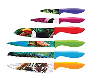 Wildlife Kitchen Knife Set in Gift Box - Cool Gifts for Animal Lovers - 6-Piece Color Cutting Chefs Knives Set - Housewarming Gifts for New Home - Hostess and Home Present Idea