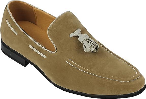 TALLA 46 EU. Faux del Cuero del Ante Xposed Hombres De La Borla De Los Holgazanes Elegant Casual Deslizamiento De Conducción Formal En Los Zapatos