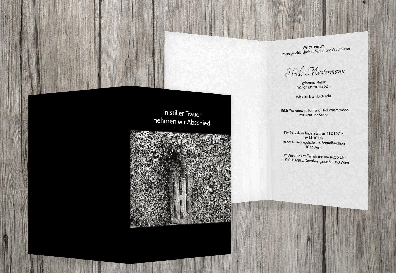 Tarjeta de luto Hiedra para puerta, negro, 40 Karten