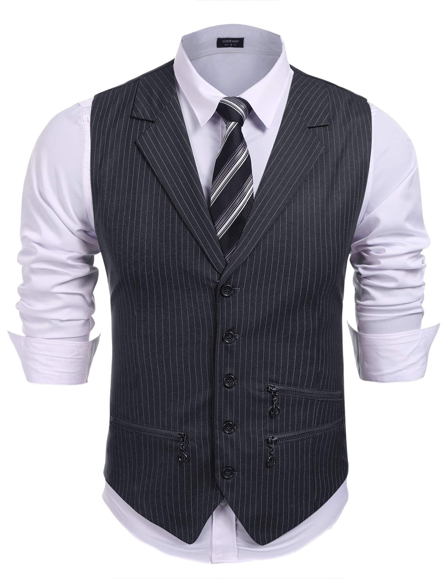 COOFANDY Men's Lapel Casual Waistcoat British Style Slim Fit,Striped Vest and Removable Hood