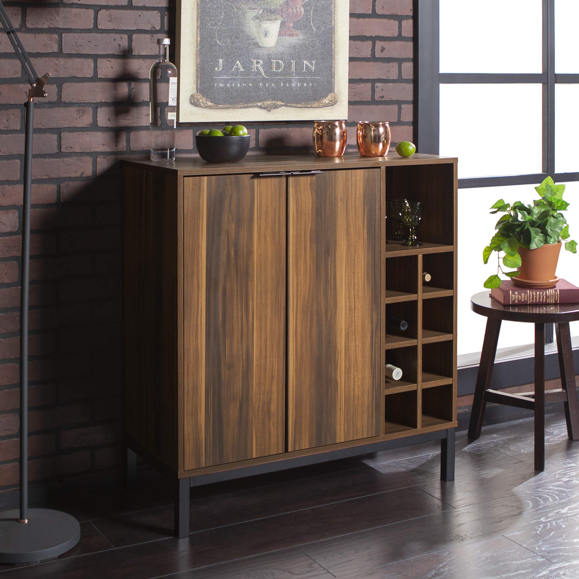 WE Furniture Bar Cabinet w/ Wine Storage, 34'' - Teak by WE Furniture