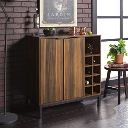 Amazon Com We Furniture Bar Cabinet W Wine Storage 34 Teak