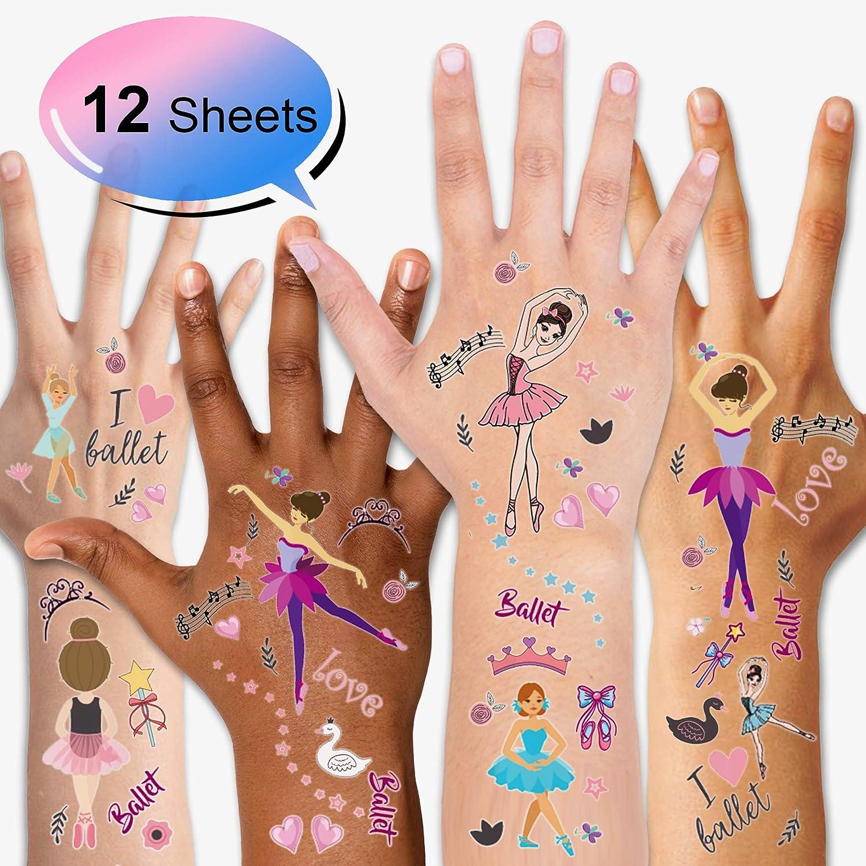 achat Konsait Tatouage temporaire pour Enfants (12 Feuilles) Ballet Filles Tattoos Étanche, Anniversaire Enfant Tatouages Ephémères pour Fille, Petit Cadeau Pinata pas cher prix