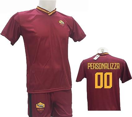 Conjunto de Camiseta de fútbol Roma Personalizable + pantalón réplica autorizada 2017-2018 para niño (Tallas 2 4 6 8 10 12) Adulto (S M L XL), Rojo, 12 años: Amazon.es: Deportes y aire libre