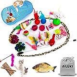 AILUKI 29 PCS Cat Toys Kitten Toys Assortments, Variety Catnip Toy Set Including 2 Way Tunnel,Cat Feather Teaser,Catnip Fish,