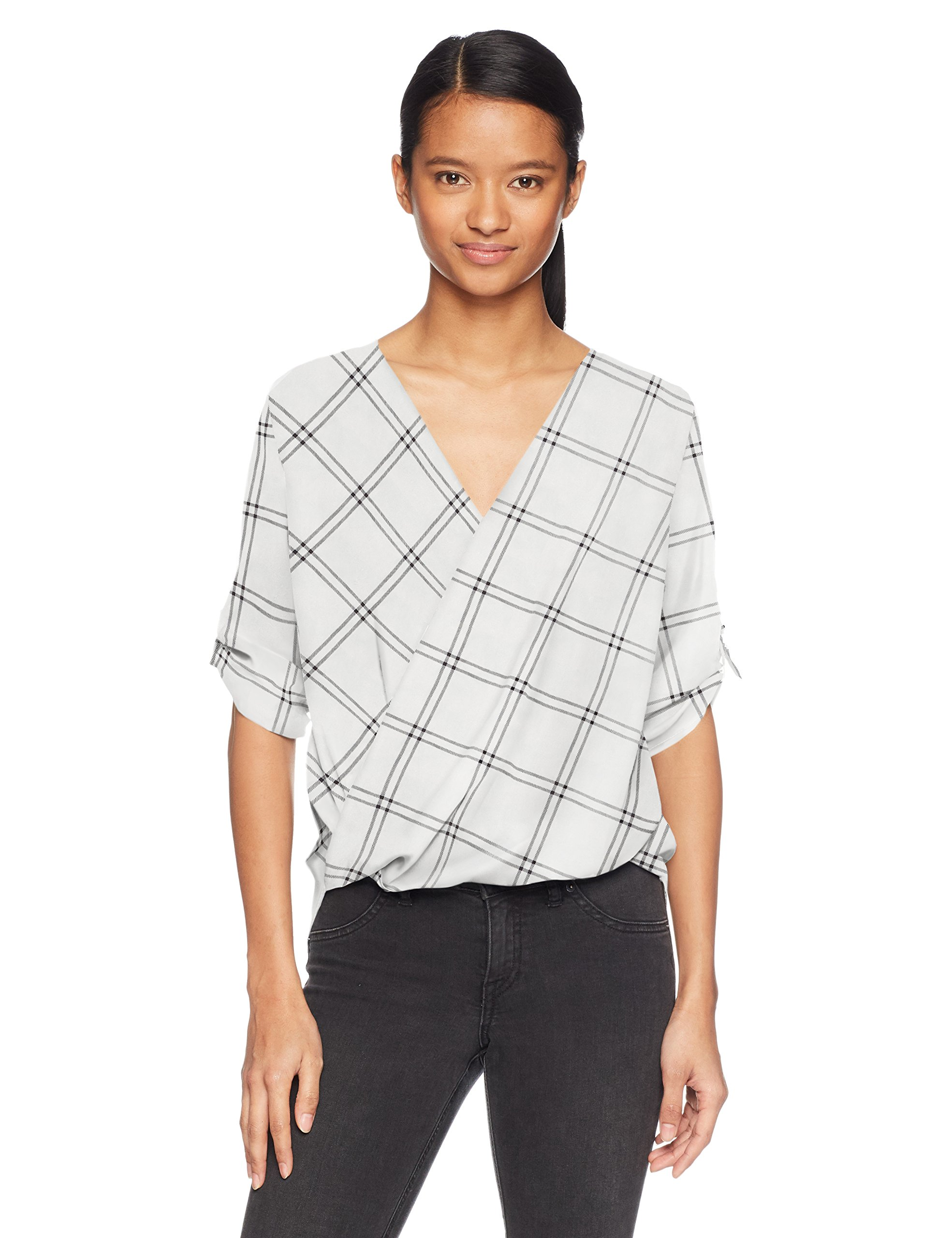 A. Byer Junior's Young Women's Teen Printed Roll Tab Sleeve Wrap Front Top, White Grid, M