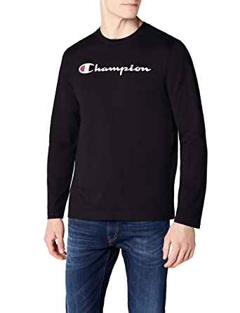 37e0220c717f Champion Men's Long Sleeve Crewneck T-Shirt-Institutionals, Black (NBK),
