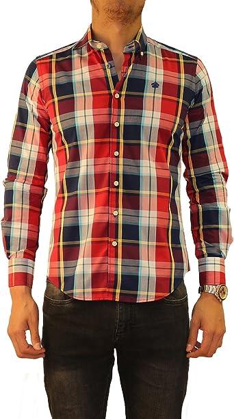 Bloom Clothes - Camisa de Cuadros para Hombre en Colores Azul, Rojo, Blanco y Amarillo: Amazon.es: Ropa y accesorios