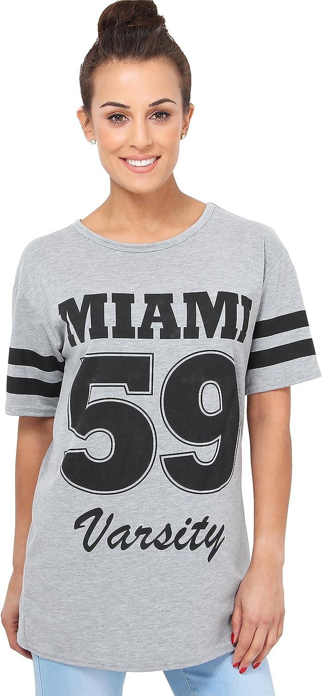 damen t-shirt miami 59 varsity print baseball american college