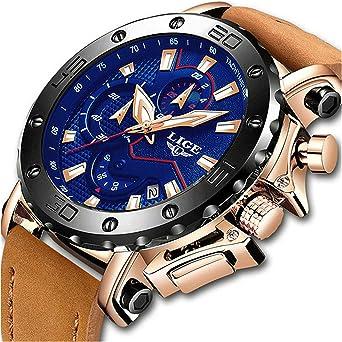LIGE Relojes de Hombre Inoxidable Moda Azul Cuero Relojes Negocios ...