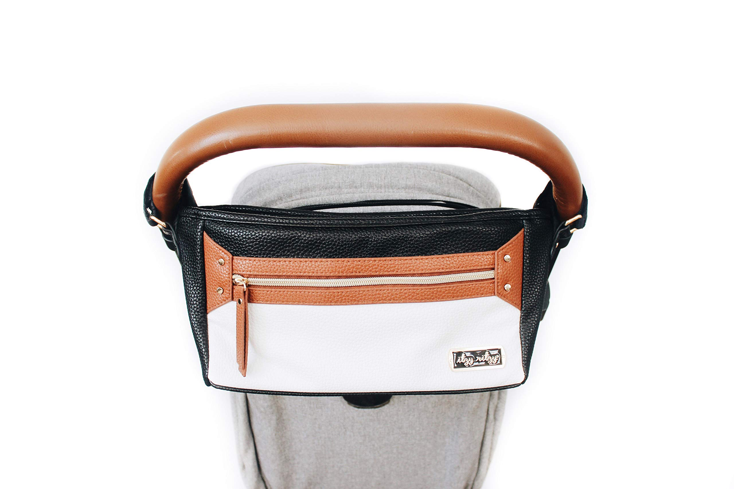 Itzy Ritzy Adjustable Stroller Caddy - Stroller Organizer Featuring Two Built-in Pockets, Front Zippered Pocket and Adjustable Straps to Fit Nearly Any Stroller, Coffee and Cream by Itzy Ritzy (Image #9)