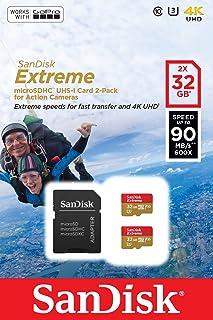 Tarjeta de memoria SanDisk Extreme microSDHC para cámaras de deportes de acción de 32 GB, Twin Pack, con hasta 90 MB/s, Class 10 y U3, V30