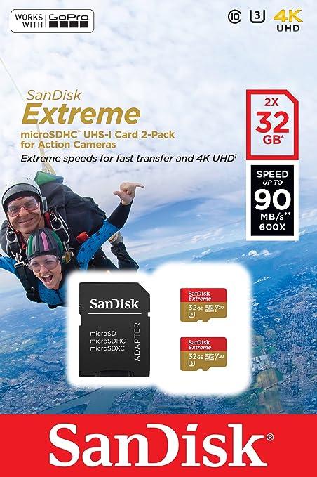 SanDisk Tarjeta de Memoria Extreme microSDHC para cámaras de Deportes de acción de 32 GB, Twin Pack, con hasta 90 MB/s, Class 10 y U3, V30