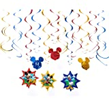 """Disney Mickey Mouse Birthday Party Hanging Swirl Ceiling Decoration, Pack Of 12, Blue/Red/Yellow , 24"""", Foil"""