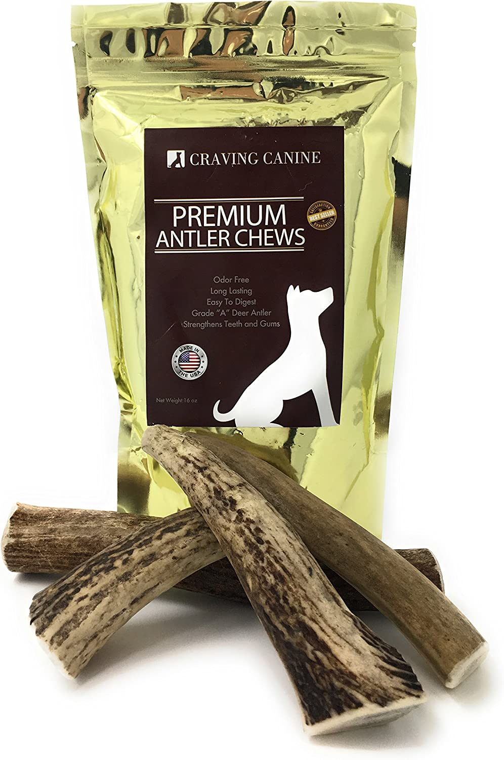 Craving Canine Grade A USA Deer Antlers for Dogs Odorless, Split-Resistant Horns for Aggressive Chewers Long Lasting Easy to Digest Antler Full of Glucosamine for Healthy Joints 1 lbs