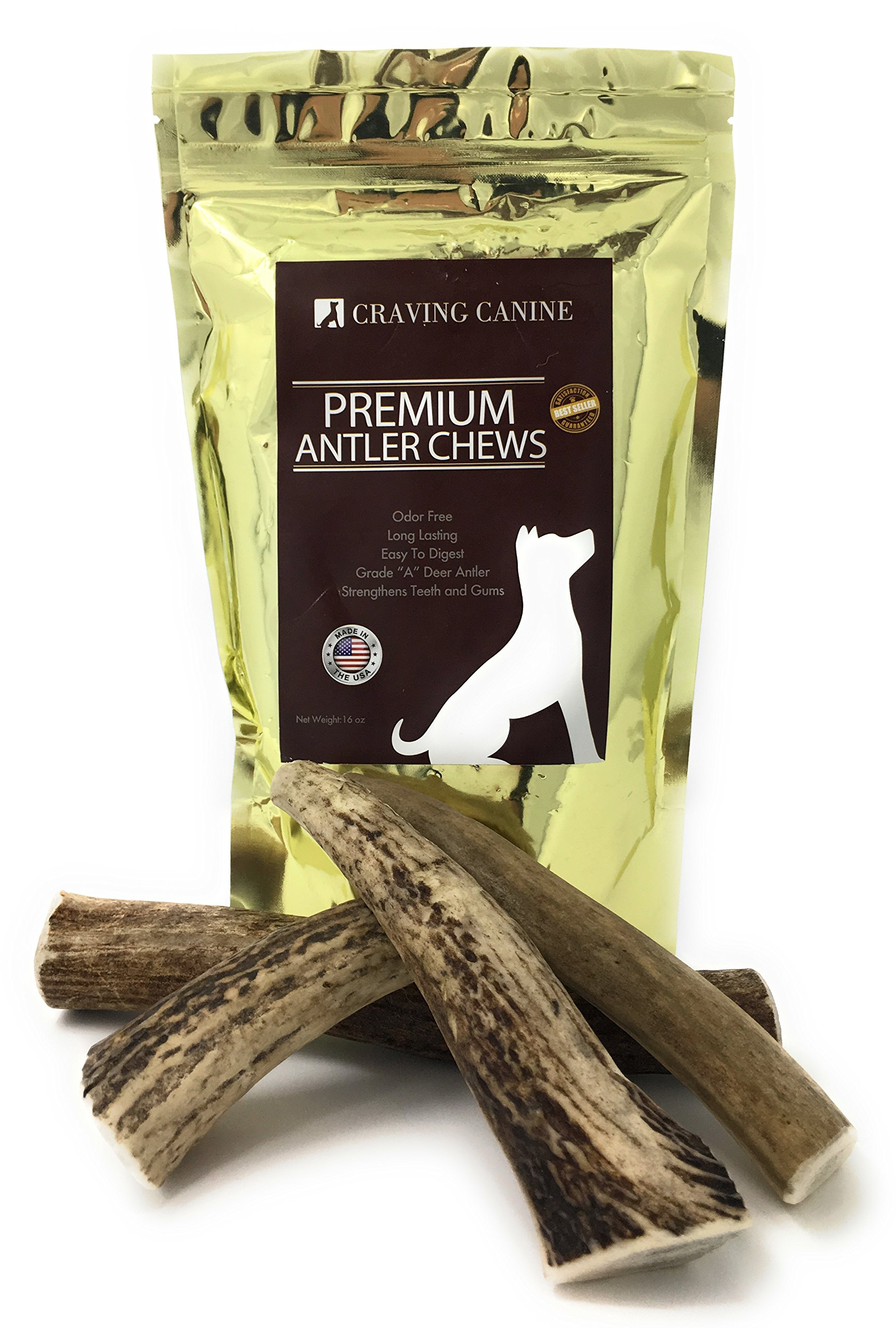 Craving Canine Grade A USA Deer Antlers For Dogs! Odorless, Split Resistant Horns For Aggressive Chewers! Long Lasting & Easy to Digest Antler Full Of Glucosamine For Healthy Joints! 1 lbs (Medium)