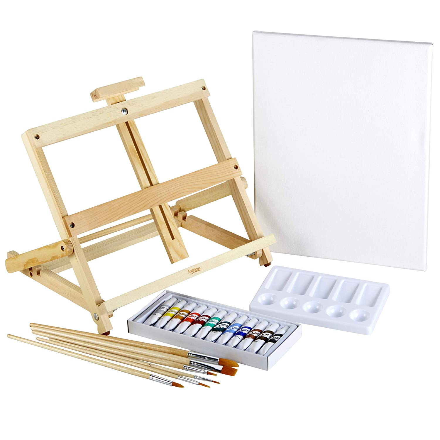 Artlicious Complete 35 Piece Easel Set - Easel, Stretched Canvas, Acrylic Paints, Paint Brushes & Palette (35 Piece Set) Sorillo Brands