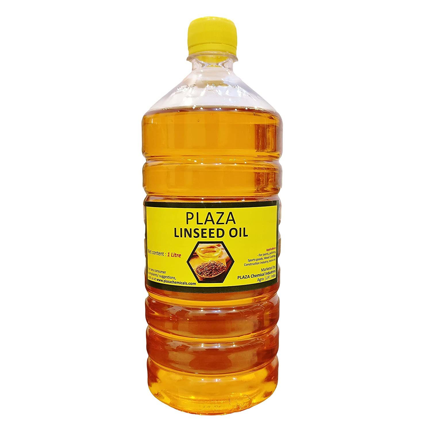 Linseed Oil Pure - 1 Litre Pack by PLAZA (Bat Oil) Used for Wood Polishing and Wood Strength, Used for Cricket Bats, Used for Mixing in Paints for Enhanced Gloss, Good Massaging Oil. PLAZA Chemical Industries PLAZA-LO-1L
