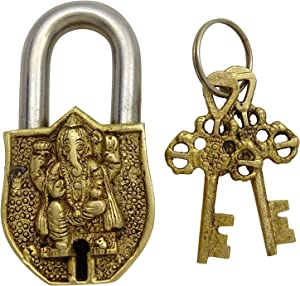 Home Decorative Handcrafted Lord Ganesha Design Brass Metal Padlock with 2 Keys